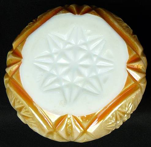 Base of marigold on milk glass